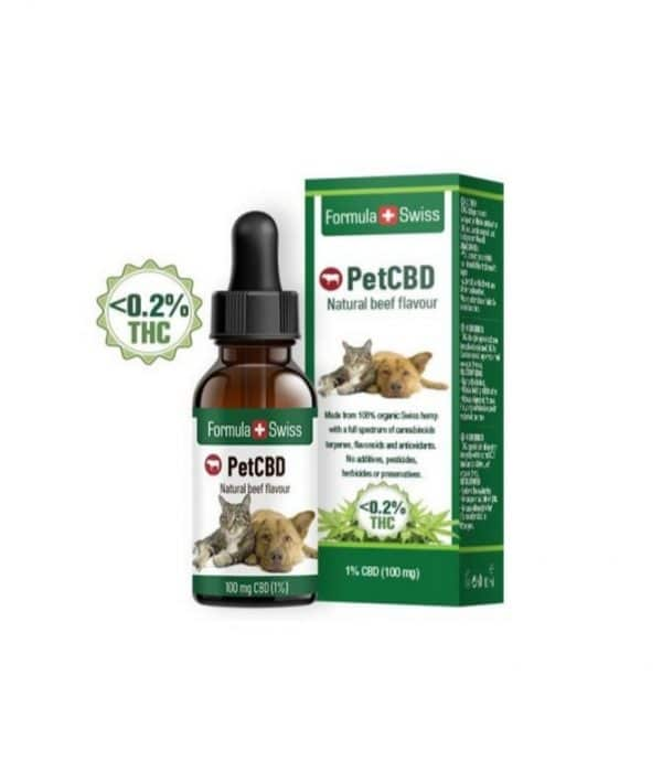 Aceite de CBD 100mg para mascotas. Aroma a carne.